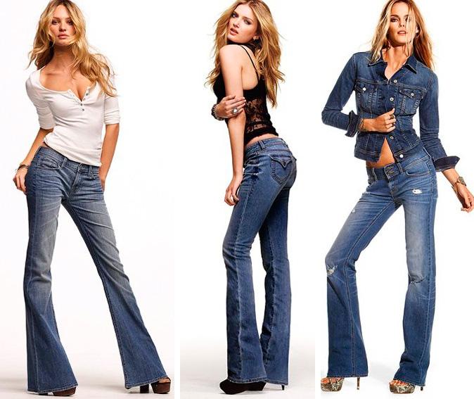 С чем же носить джинсы-клеш?
